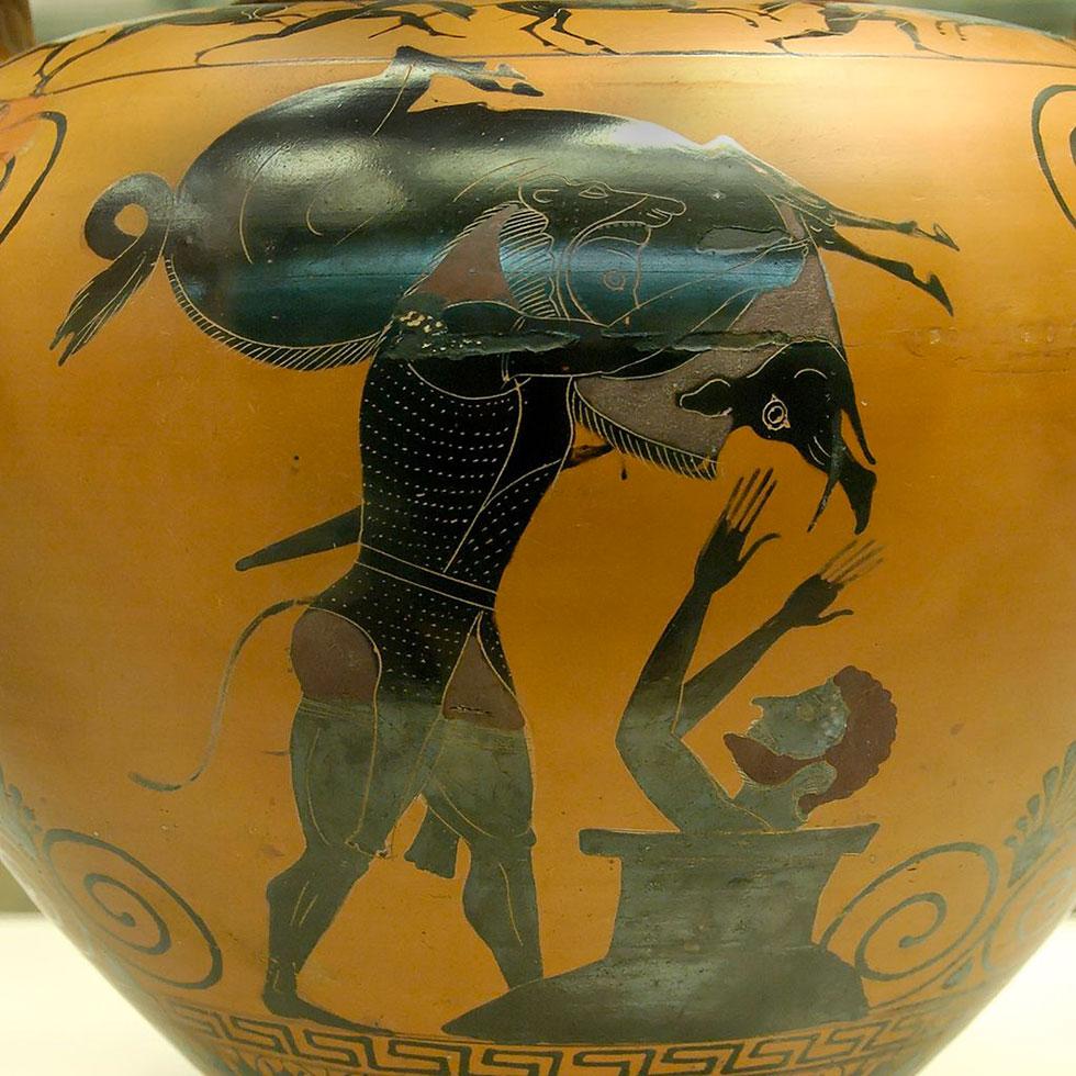 Ercole porta il cinghiale erymanthos al re di Corinto terrorizzato