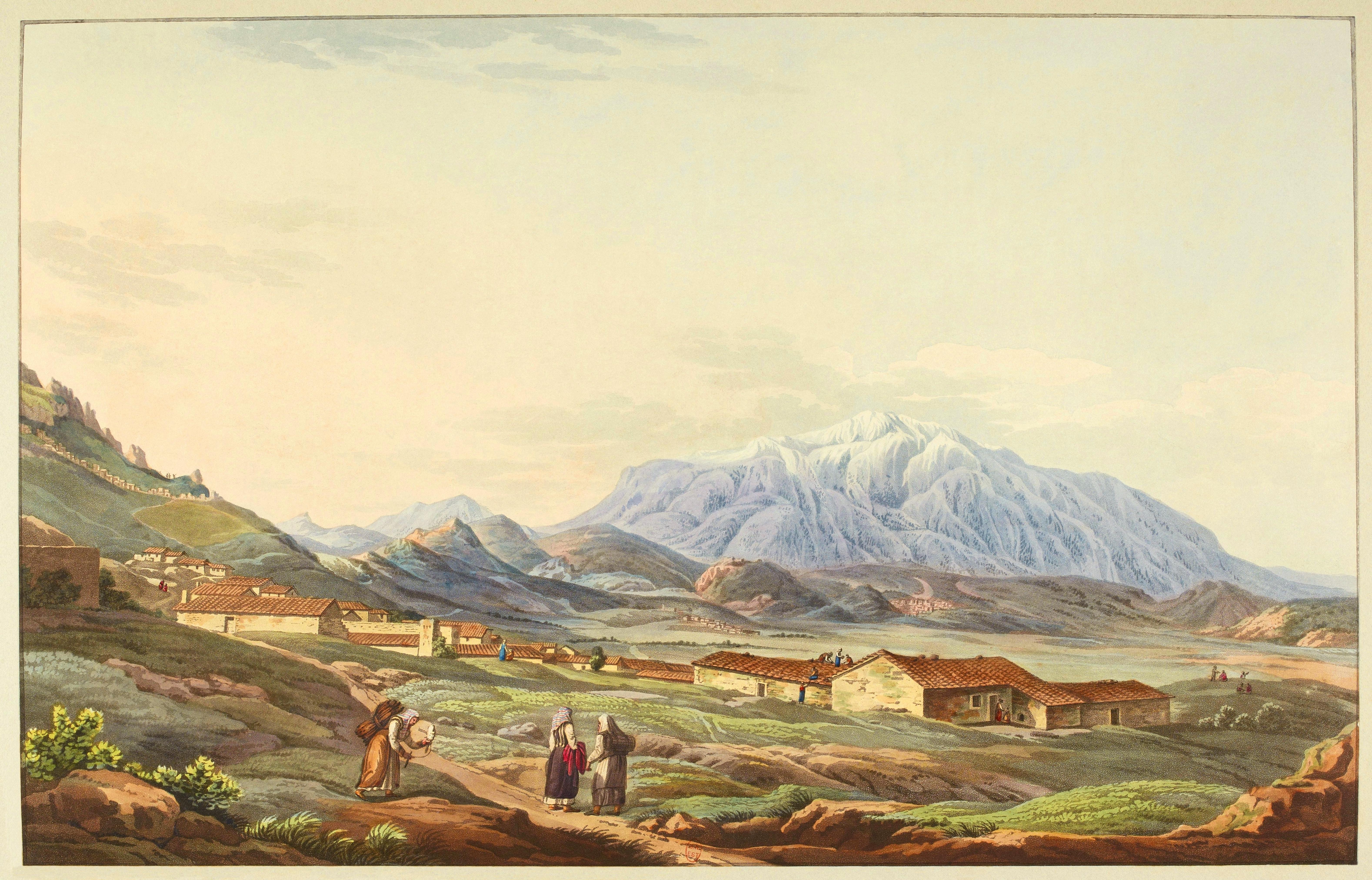 Delfi e il Parnaso in una stampa di Edward Dodwell del 1821