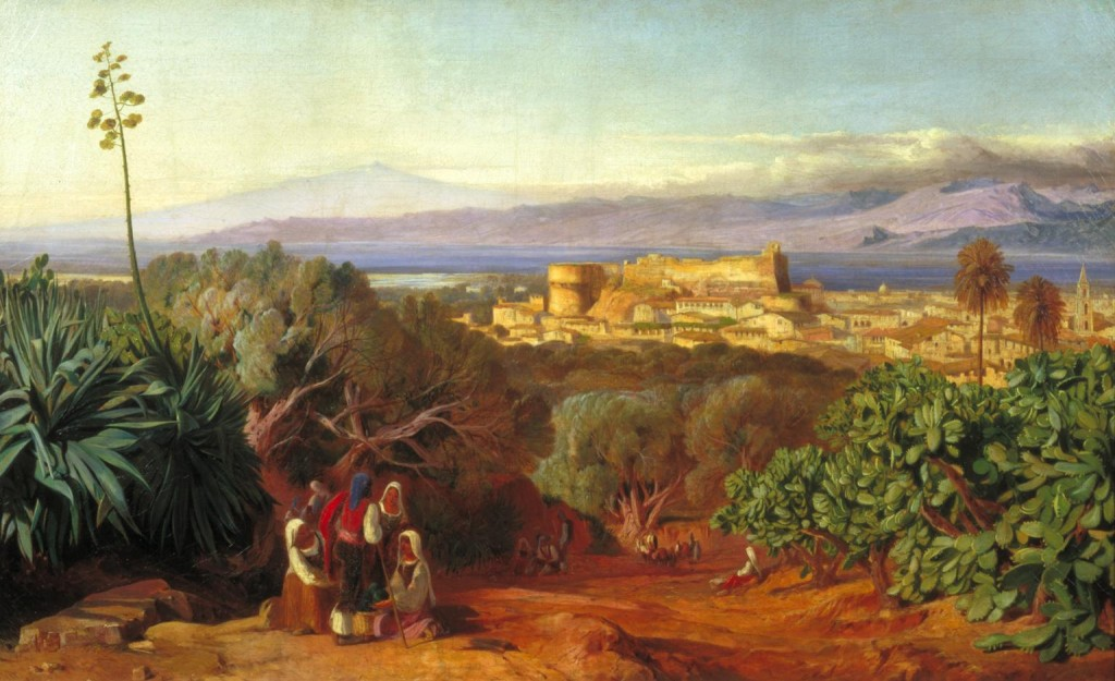 view of Reggio and the Strais of Messina 1847 Edward Lear