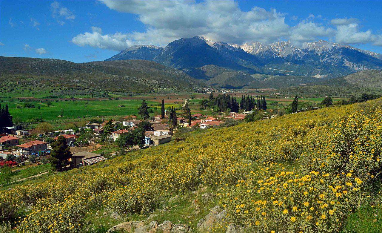 La valle sul versante settentrionale del Parnasòs in tarda primavera